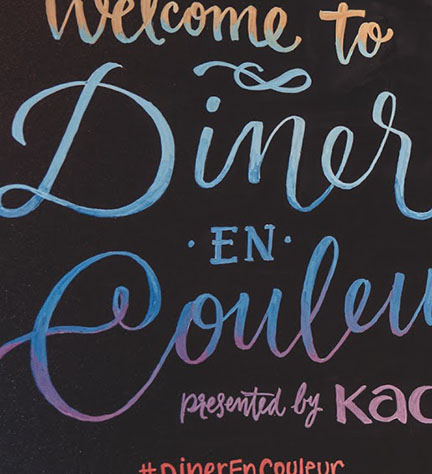 "Event Lettering – ""Diner En Couleur"" (hosted by Citizen Relations & KAO Beauty)"